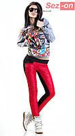 Штаны женские с карманами на флисе - Красный