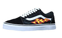 Мужские кеды Vans Old Skool Black/White Flame Fire