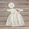 """Нарядное ажурное платье  на выписку/ крестин для девочки с чепчиком """"Ажур""""Размер 74-80"""