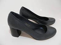 Кожаные туфли серый графит каблук 6 см