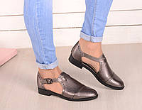 Туфли на низком ходу с ремешками серебро код 20031, фото 1
