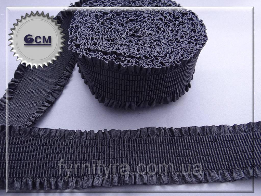 """Резинка текстильная """"пояс"""" 6,0см черная 4653-4"""