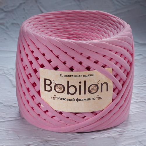Трикотажная пряжа Bobilon Mini (5-7мм). Розовый Фламинго