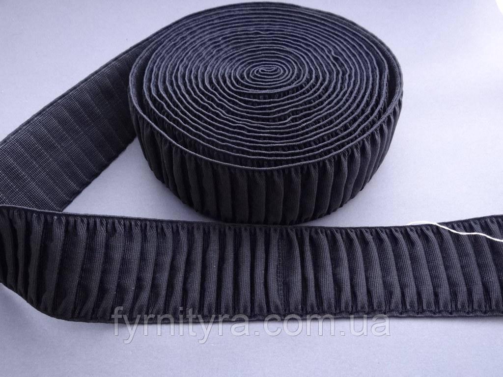 """Гумка текстильна """"пояс"""" 6,0 см чорна 4653-6"""
