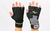 Гелевые перчатки-бинты для кикбоксинга внутренние из неопрена EVERLAST 4355B HAND WRAPS (р-р M-XL, черный)