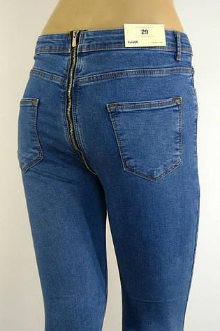 Жіночі голубі джинси із замком взаді, фото 2