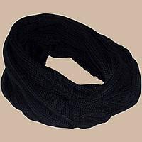 Вязаный зимний шарф снуд черного цвета