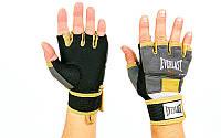 Перчатки-бинты EVERLAST для кикбоксинга внутренние гелевые P00000740 EverGel (р-р M-L, серый-желтый)