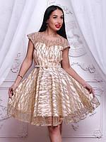 Красивое вечернее женское платье органза с нашивкой стразы беж с золотом