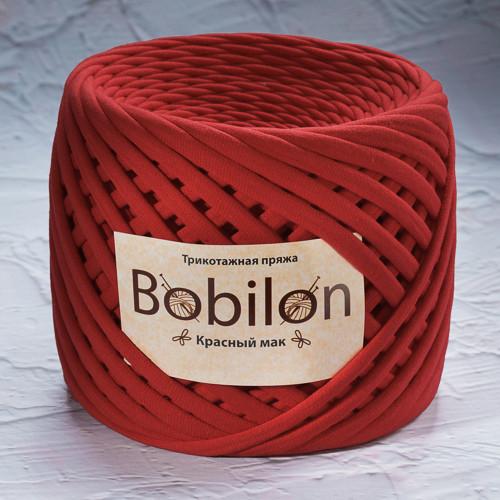 Трикотажная пряжа Bobilon Medium (7-9мм). Красный мак
