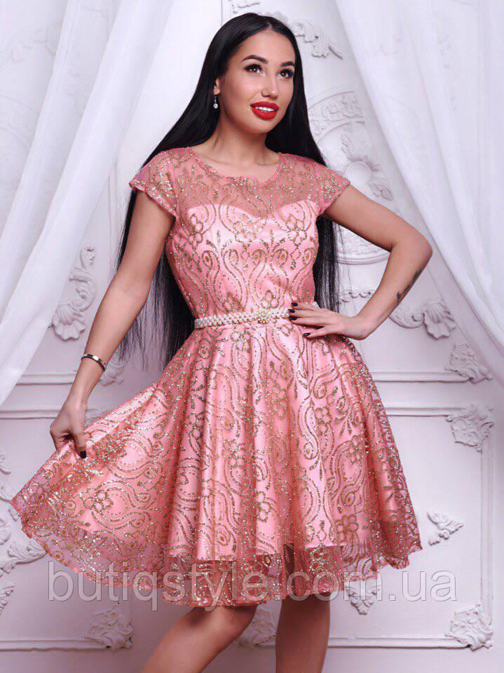 ecaaf10501e Красивое вечернее розовое платье органза со стразами золото -