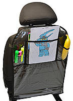 Накидка захисна Poputchik на спинку автомобільного крісла з кишенями 44 х 65 см