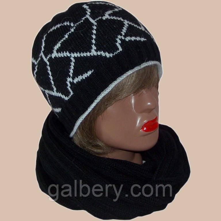 В'язана жіноча шапка і шарф з норвезькими орнаментами