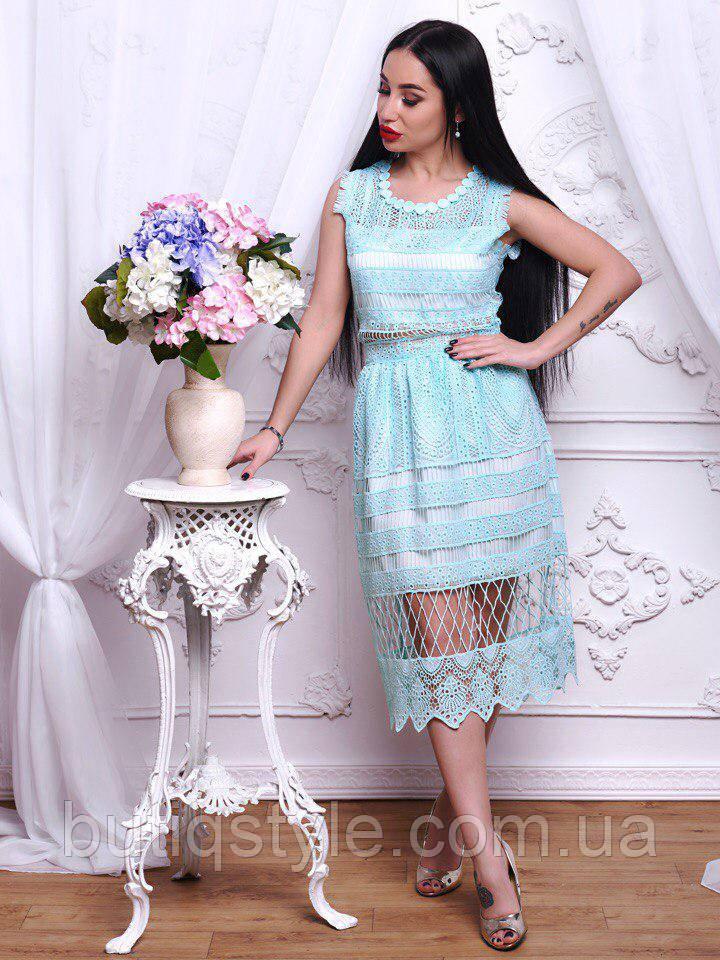 Стильное котоновое женское платье миди с кружевом голубое, розовое
