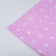 Лоскут ткани №63 с белыми звёздочками на розовом фоне