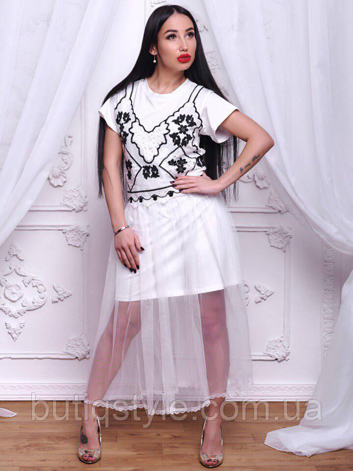 Красивое женское котоновое белое платье с шифоновой юбкой