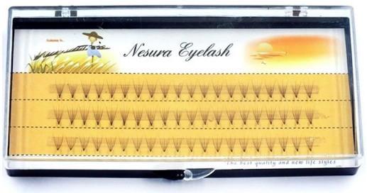 60 безузелковых пучковых ресниц ручной работы Nesura 11 мм