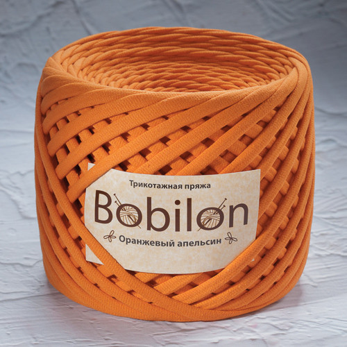 Ленточная пряжа Bobilon Maxi (9-11мм). Оранжевый Апельсин