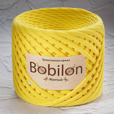 Пряжа типа спагетти Bobilon Mini (5-7мм). Желтый