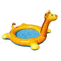 Детский надувной бассейн Жираф для малышей от 2 лет, 1 кольцо, 208-165-122 см, intex 57434
