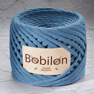 Exclusive! Трикотажная пряжа Bobilon Medium (7-9мм). Синий меланж
