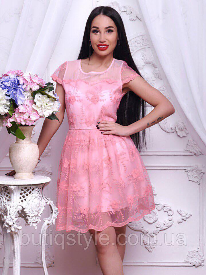 Шикарное женское кружевное платье белое, розовое, сирень