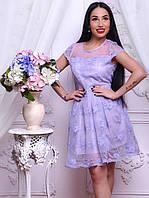 Шикарное женское кружевное платье белое, голубое, розовое, сирень