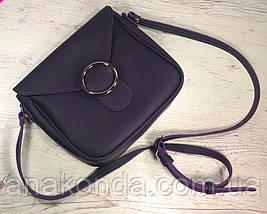 42 Натуральная кожа, Сумка кросс-боди женская, баклажан матовый (фиолетовая, лиловая), фото 3