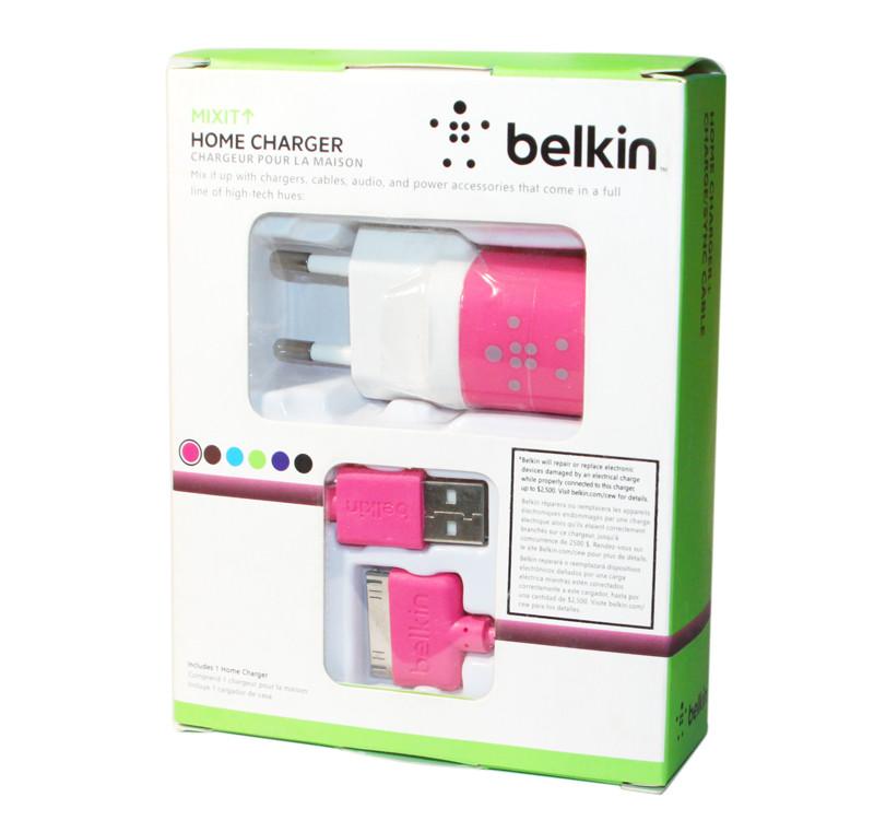 Зарядное устройство Belkin, Pink, 1xUSB, 1A, кабель USB  iPhone 4 (F8J