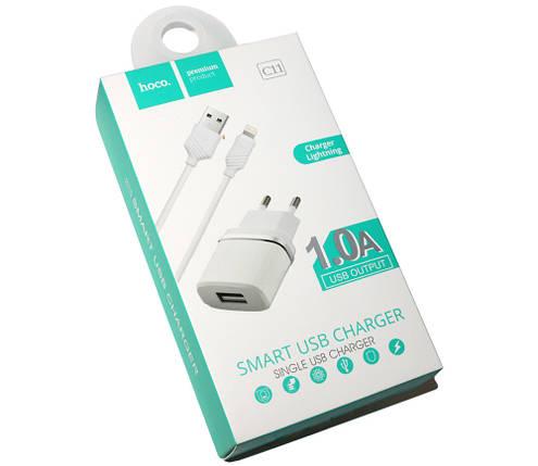 Зарядное устройство Hoco, White, 1xUSB, 1A, кабель USB  iPhone5 (C11), зарядка для смартфона, телефона, фото 2