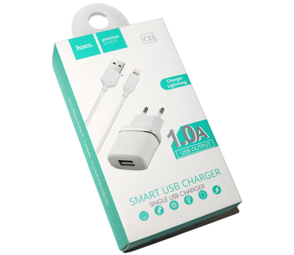 Зарядное устройство Hoco, White, 1xUSB, 1A, кабель USB  iPhone5 (C11),