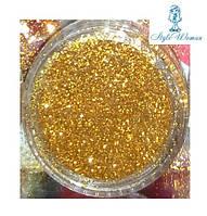 Глитер, песок, блестки, присыпка для декора ногтей, золото в баночке