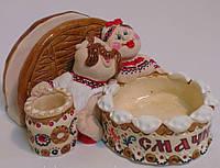 Кум, кума, салфетница с солонкой сувенирная