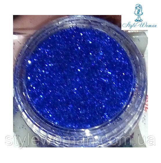 Глитер, песок, блестки, присыпка для декора ногтей, синий в баночке