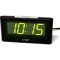 Настольные часы VST-732-2 с зеленой подсветкой (питание от сети)