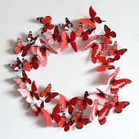 Бабочки 3D для декорации 12 шт. красные