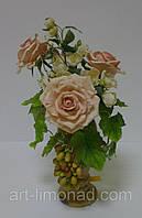 Кремовые Розы с виноградом