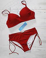 Купальник с высокими плавками красный, фото 1