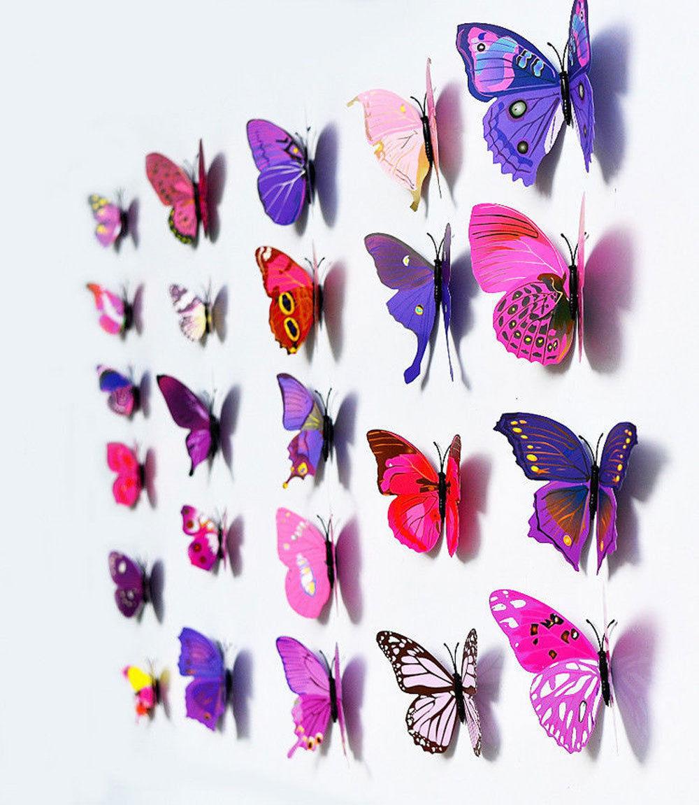 Бабочки  виниловые 3D 12 шт. пурпурные