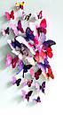 Бабочки  виниловые 3D 12 шт. пурпурные, фото 4