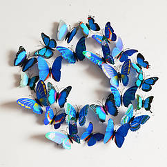 Бабочки 3D  голубые, набор 12 штук