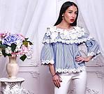 Стильная котоновая блузка крестьянка с кружевом в полоску, синяя, белая