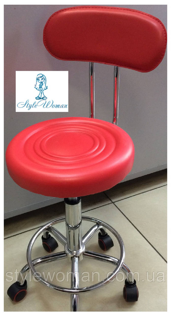 Стул мастера со спинкой на колесиках из кожзама красный