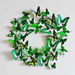 Бабочки 3D зеленые для декора