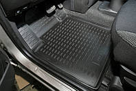 Коврики в салон для Volkswagen Transporter T5 '10- Caravelle, второй ряд, резиновые, черные, с печкой Avto-Gumm