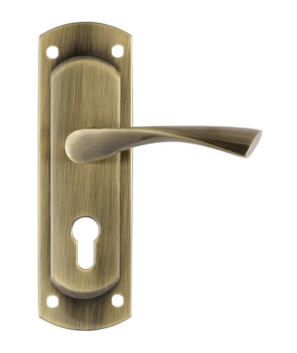 Ручка на планке для входных дверей Trion ЦАМ POLIS  55 mm AB Широкая планка