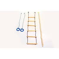 Набор детский для шведской стенки L-4055 (канат,лестница,кольца)