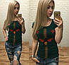 Новинка! женская футболка Турция муха роза бутылочныйS M L