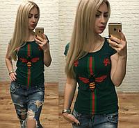 Новинка! женская футболка Турция муха роза бутылочныйS M L, фото 1