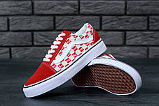 Женские кеды Supreme x Vans Old Skool red. ТОП Реплика ААА класса., фото 3